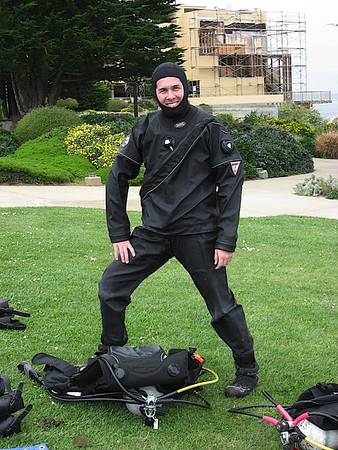 Mike is all set to dive in his Dry Suit (and stay warm!)