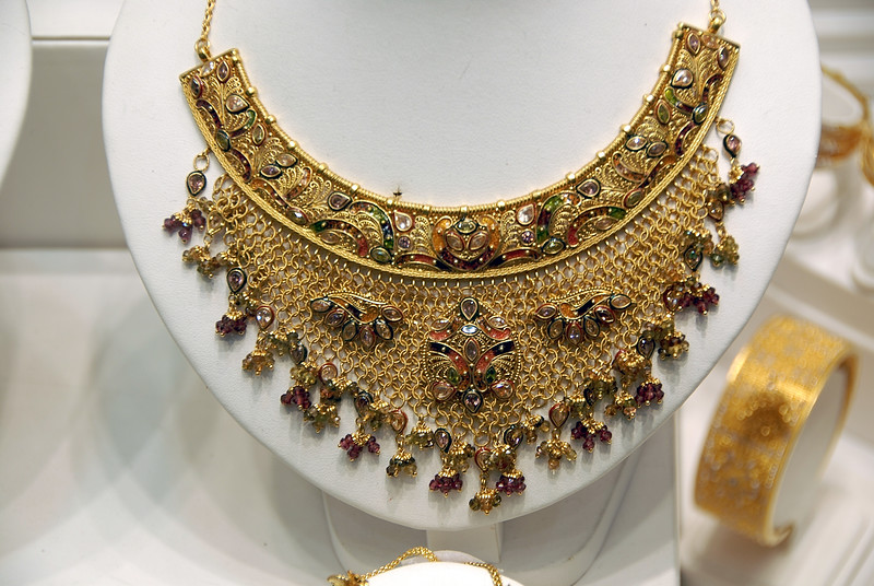 Gold necklace in a Dubai store.  Had very fine detail work.  Looked like it would be destroyed if you touched it.