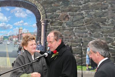 City of Newburgh Manager Jean-Ann McGrane, Father William Scafidi and City of Newburgh Mayor Nicholas Valentine