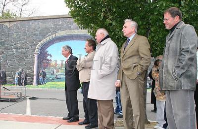City of Newburgh Mayor Nicholas Valentine, Orange County Executive Ed Diana, Sen William Larkin and artist Garin Baker