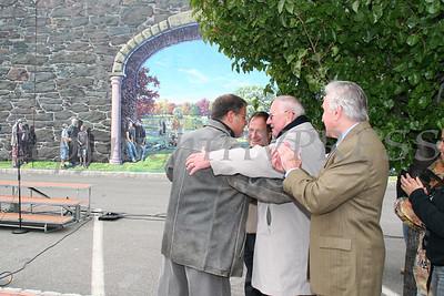 Garin Baker receives a hug from Sen Larkin