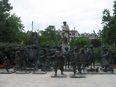 Nightwatch 3D, a bronze-cast representation of Rembrandt's Night Watch painting, in Rembrandtplein (Rembrandt Square)