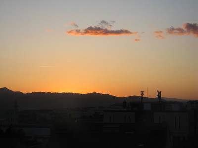 Sunset over Sant Joan Despí, a suburb of Barcelona