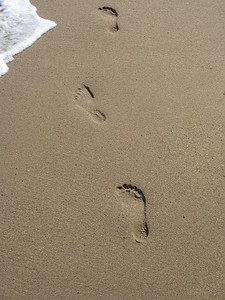 Footprints in the sand of the Mediterranean Sea