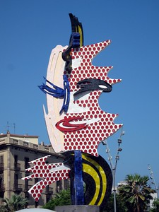 """Face of Barcelona"" sculpture in the Moll de la Fusta"
