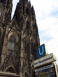 Dom (Cologne Cathedral).  The sign is for the subway station serving the cathedral and the main train station.