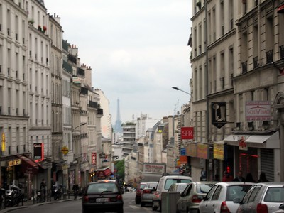 View of the Eiffel Tower from a Paris street