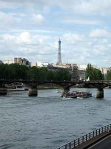 View of the Eiffel Tower across the Seine River
