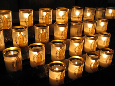 Candles inside Notre Dame de Paris