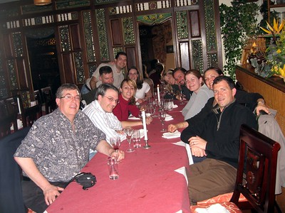 Allen (l), Paul, Erin, William, Craig, Kara, Michelle, Matt, Abbie, Darrene, and Chris, at the group's first dinner in The Hague