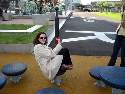 Kara tests a Dutch playground in Rotterdam, for research purposes