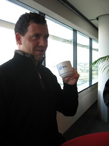 Chris enjoys coffee at the Port of Rotterdam