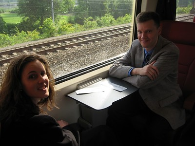 Kara and William on the train from The Hague to Brussels