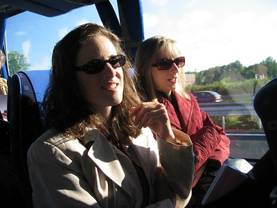 Kara and Michelle on the cohort minibus