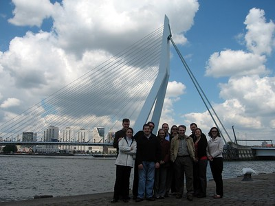 In front of the Erasmusbrug (Erasmus Bridge) across the Nieuwe Mass (New Muese) River in Rotterdam