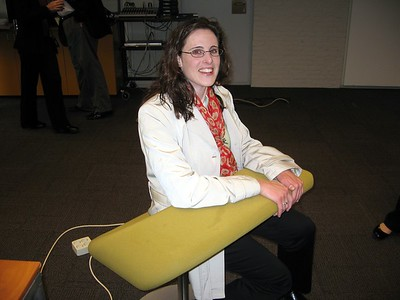 Kara models some funky furniture at the National Academy for Finances and Economy in The Hague