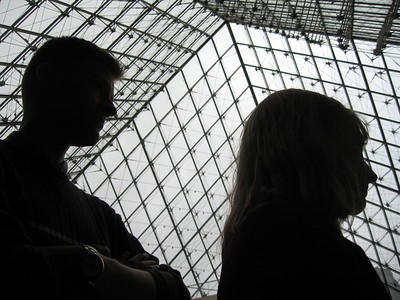 Michelle and William, inside The Louvre Museum, in Paris