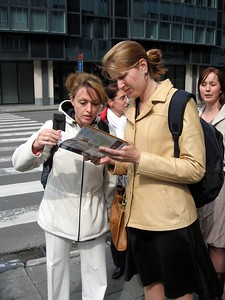 Erin and Abbie plan their tour of Brussels