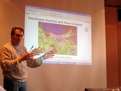 Paul delivers a presentation about Hurricane Katrina at the Association of Water Boards