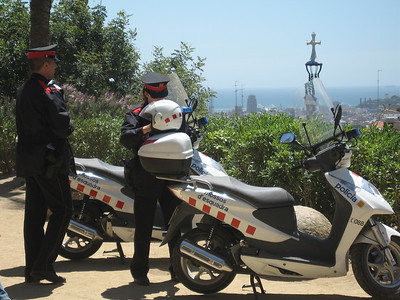 Police officers at Park Güell in Barcelona
