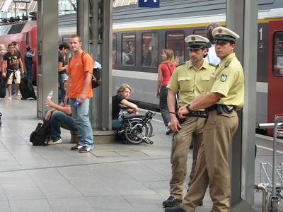 Police officers at the Cologne Haupthbahnhof (Central Train Station)