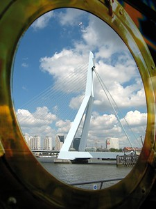 The Erasmusbrug (Erasmus Bridge), as seen from Cafe Rotterdam
