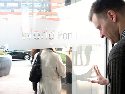 William exits the headquarters of the Port of Rotterdam