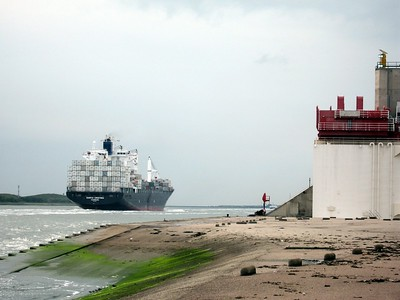 A barge passes through the Maeslant Storm Surge Barrier near Rotterdam