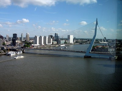 The Erasmusbrug (Erasmus Bridge) across the Nieuwe Mass (New Muese) River in Rotterdam
