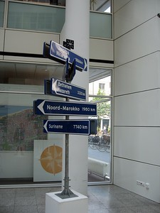 These signs show the distances to world cities from The Hague City Hall