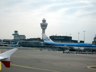 Just landed at Amsterdam's Schiphol Airport.  KLM (Royal Dutch Airlines) was the Dutch national airline until its merger with Air France, and is the oldest airline in the world still operating under its original name