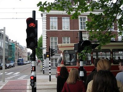 Bicycle and tram crossings in The Hague