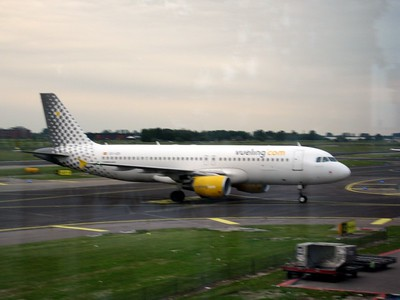 Vueling Airlines from Amsterdam to Barcelona, as seen at Schiphol Airport