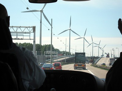 Windmills in Rotterdam, as seen from the class bus