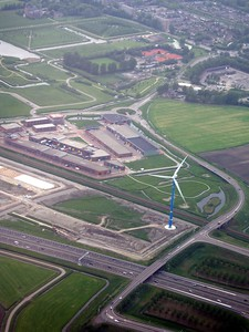 Windmill in Amsterdam, as seen while landing at Schiphol Airport