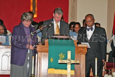 Rev Gail Burger, Rev William Dalrymple, Rev Edward Hunt read the Litany