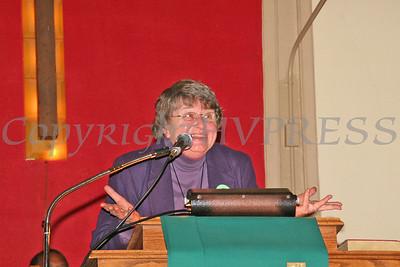 Rev Gail Burger speaks during the Dr King celebration