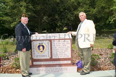 Bill Larkin and Jim Kulisek at Purple Heart Monument