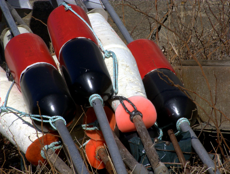 High flier buoys used to connect a group of lobster traps.  The tops of the pole have a diamond shaped flange that reflects radar to locate the traps easier.