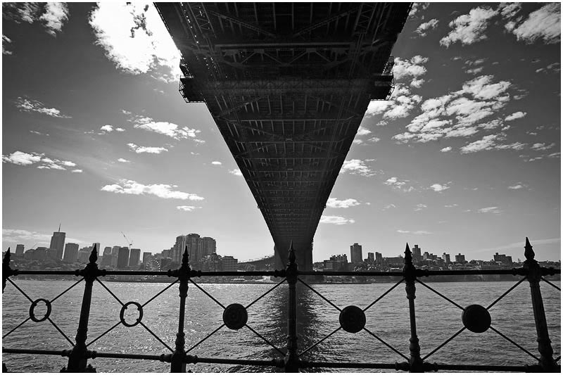 Dawes Point, Friday 16th February 2007. <br /> <br /> Sydney Harbour Bridge. <br /> <br /> <br /> EXIF DATA <br /> Canon 1D Mk II. EF 17-35mm f/2.8L@17mm 1/60 f/13 ISO 200.