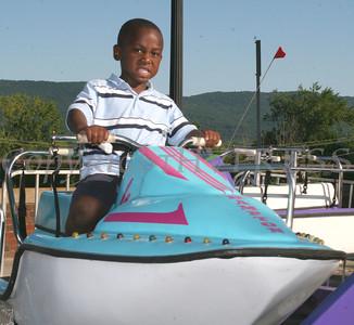 Jayden Lassiter, 4-years-old, on the Wavethunder boat ride