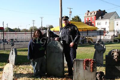 Maritza Wilson and Lt. Broe in the graveyard