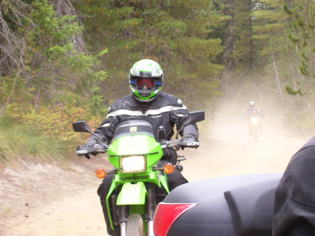 Keith on Kermit behind Eric and the 950 Katoom.