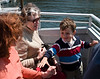 Caroline, Maman, and Joey on the Ferry.