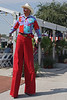 Clown on stilts.
