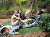 This naked woman and her friends were hiding behind some trees... hm...