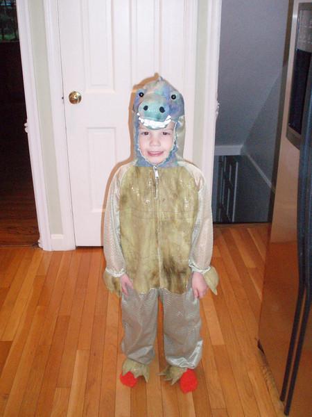 Ben's dinosaur costume