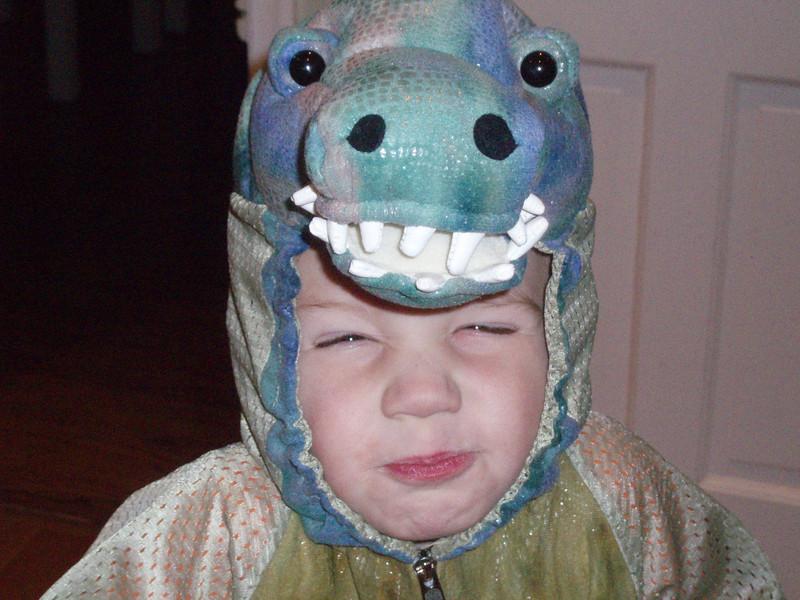 Ben's scary dinosaur face