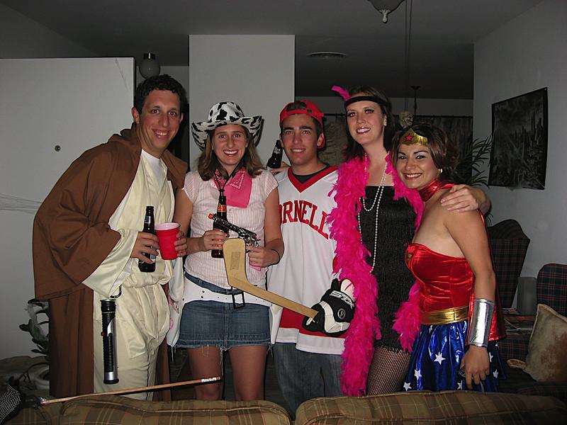 Halloween Party at Harrisons: Harrison (Jedi Knight), Katy (Cowgirl), Mike (Cornell Hockey Player), Sasha and Marleen (Wonder Woman)