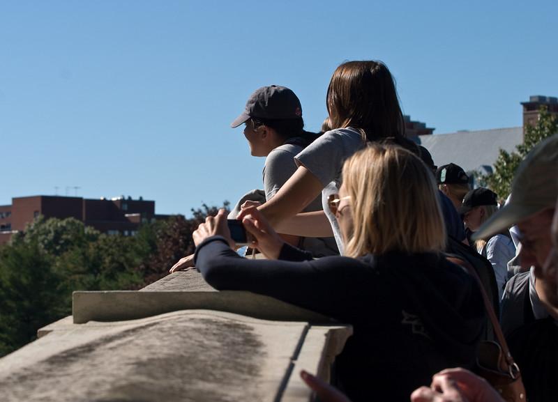 Spectators on the Weeks bridge.